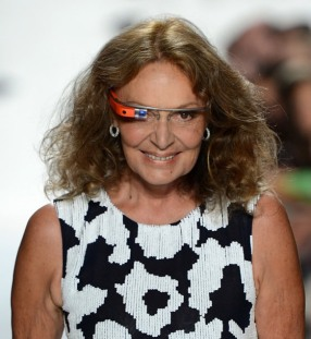 Diane Von Furstenburg wearing the Google Glass