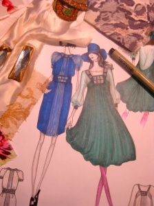 Fabrics, illustrations and embellishments of my career in the fashion industry