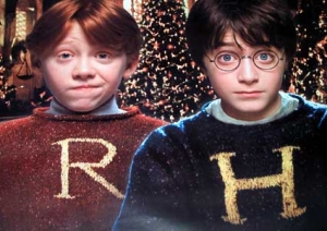Harry and Ron in their personalized jumpers knitted my Mrs Weasley