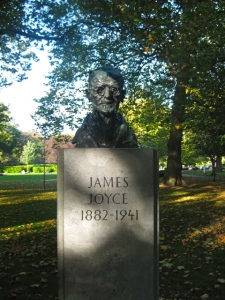 James Joyce monument in Dublin. I kissed that stone on my last visit while everyone else went further south to kiss the Blarney Stone.