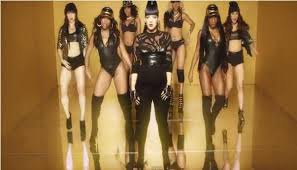 Lily with her dancers in the video for Hard Out Here