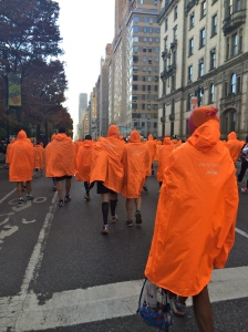 Radioactive orange ponchos to keep warm