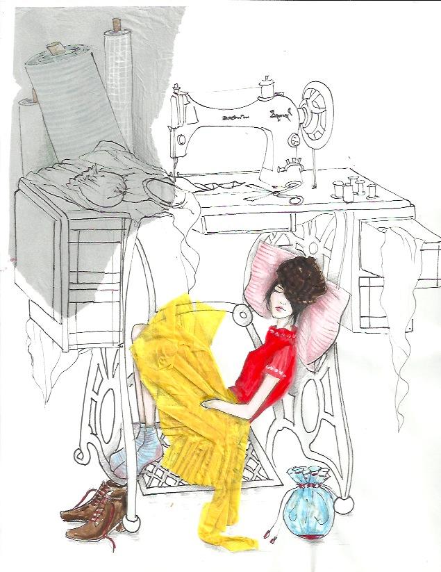 Asleep under sewing machine 1