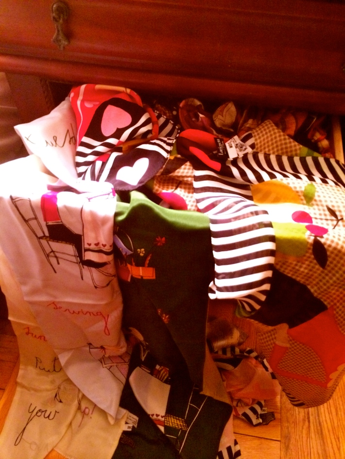 My drawer of Moschino scarfs