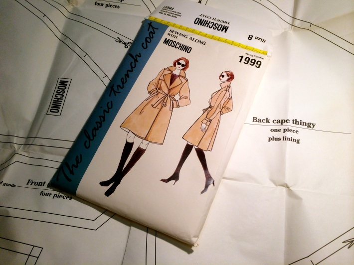 "Moschino trench coat pattern. Note pattern piece marked ""Back capey thingy"""