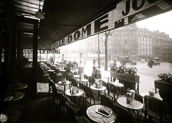 Paris's Dome cafe, mentioned often in Hemingway's A Moveable Feast where artists, models and muses met.