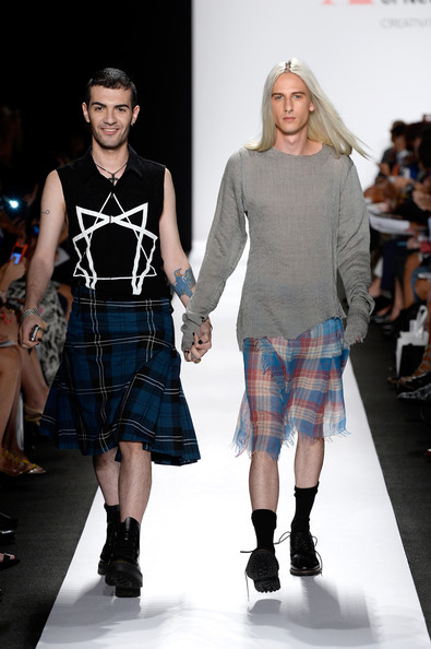 Designer Lavan Chxeidze and his model both wearing his designs