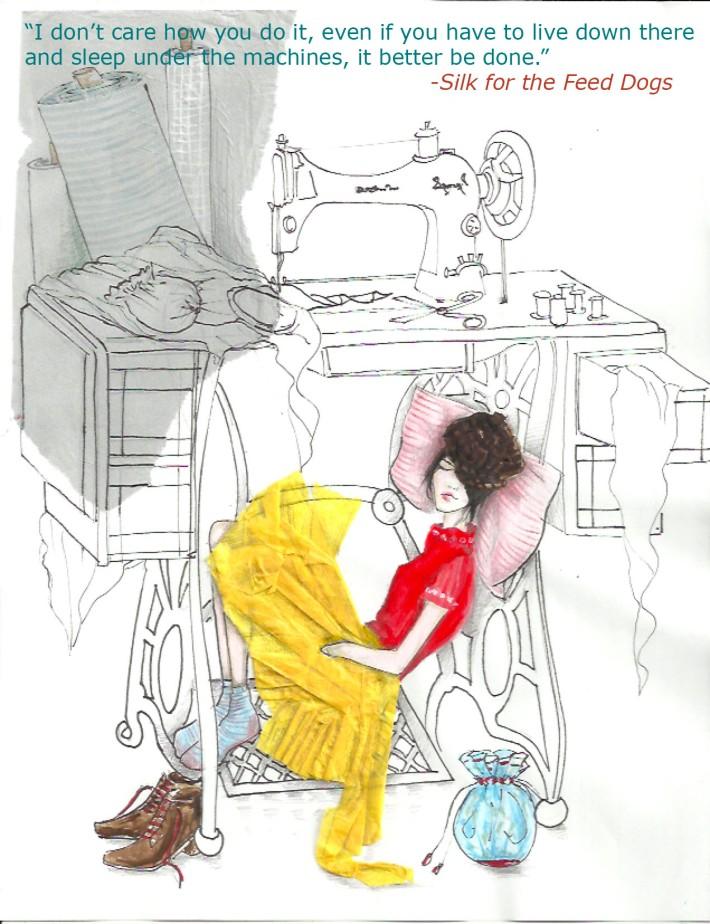 Sleeping under sewing machine
