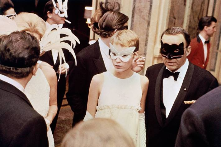Mia Farrow and Frank SInatra arrive at the Black and White Ball